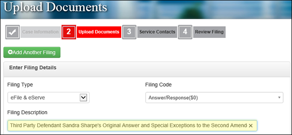 Filing Description screen shot